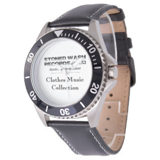 """Zeigt eWatch Factory """"Stoned wash Records"""" Cuir Armbanduhr"""