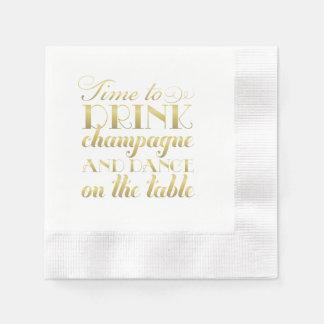 Zeit der Hochzeits-Servietten-|, Champagne zu Papierservietten