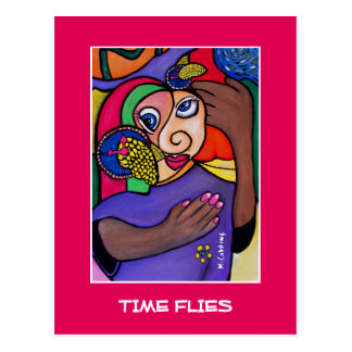 Zeit fliegt auf helles Rosa - Zeit-Stücke Postkarte