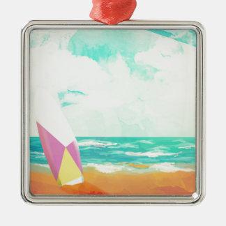 Zeit für das Surfen! Quadratisches Silberfarbenes Ornament