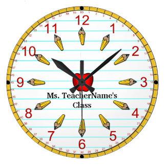 Zeit für die Klasse - nummeriert (personalisiert) Große Wanduhr