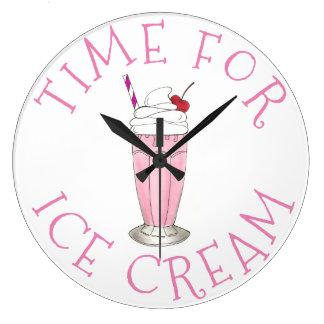 Zeit für Eiscreme-Rosa-Erdbeercreme-Milchshaken Große Wanduhr
