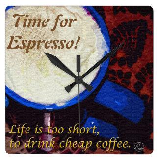 Zeit für Espresso! Quadratische Wanduhr