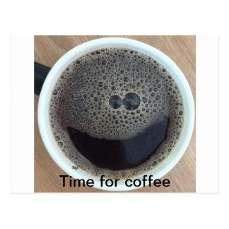 Zeit für Kaffee-Smiley Postkarte