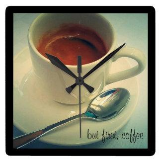 Zeit für Kaffeeuhr Quadratische Wanduhr