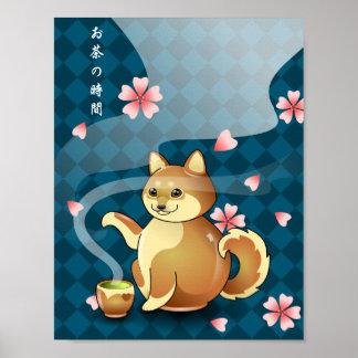 Zeit für Tee Chibi Shiba Inu Teekanne-Kanji-Plakat Poster