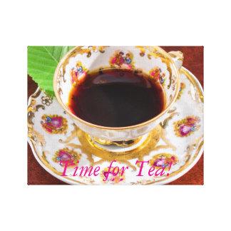 Zeit für Tee-Entwurf Leinwanddruck