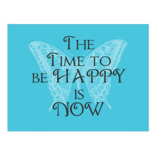 Zeit, GLÜCKLICHE Aqua-Schmetterlings-Postkarte zu