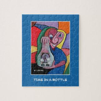 Zeit in einer Flasche auf Blau - Zeit-Stücke Puzzle