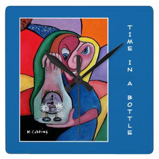 Zeit in einer Flasche auf Blau - Zeit-Stücke Quadratische Wanduhr