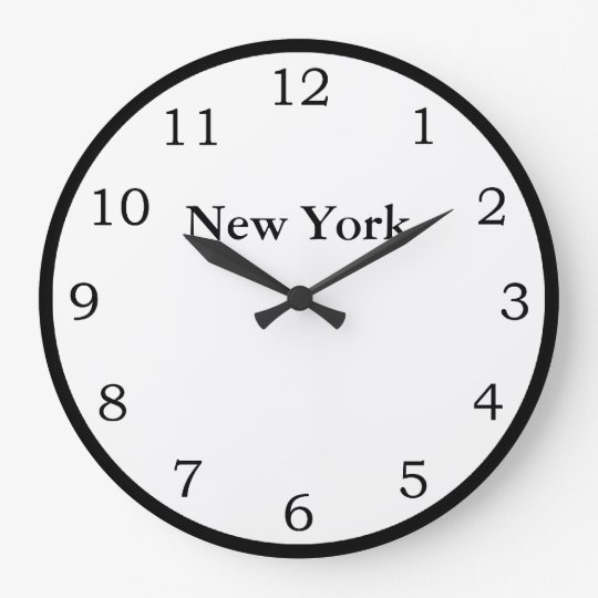 zeit in new york gro e wanduhr zazzle. Black Bedroom Furniture Sets. Home Design Ideas