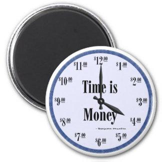 Zeit ist Geld - blauer Ziffernblatt-Magnet Runder Magnet 5,7 Cm