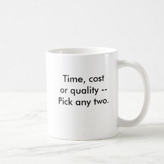 Zeit, Kosten oder Qualität --Wählen Sie Kaffeetasse