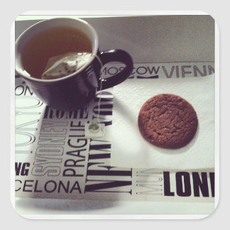 Zeit, sich #tea und ja ein niederländisches quadratischer aufkleber
