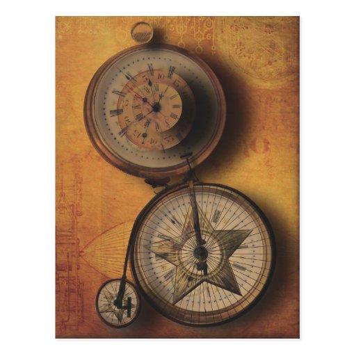 Zeit, zu gehen Steampunk Uhr auf viktorianischem F Postkarten