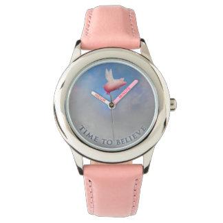 Zeit zu, glauben-wenn Schweine Armbanduhr fliegen