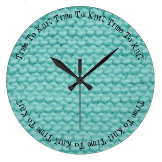 Zeit zur Strick-Uhr Große Wanduhr