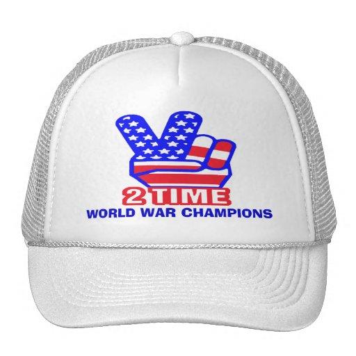 Zeit zwei zurück zu hinterem Weltkrieg kaut Hüte Baseball Kappen