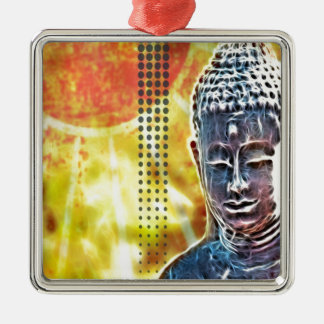 Zeitalter-Yoga-Meditations-geistiger Zen Buddha Quadratisches Silberfarbenes Ornament
