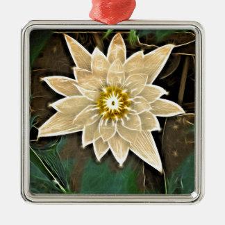 Zeitalter-Zen-Buddhismus-Yoga Namaste weißes Lotus Quadratisches Silberfarbenes Ornament