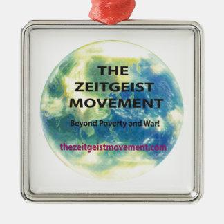 Zeitgeist-Bewegung Quadratisches Silberfarbenes Ornament