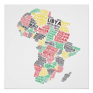 Zeitgenössische Afrika-Wort-Karte Perfektes Poster