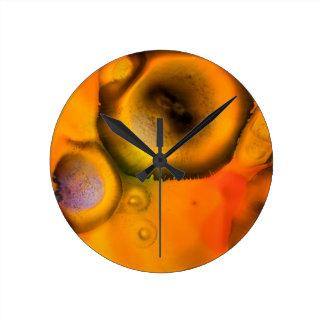 Zeitgenössische Bio Malerei der abstrakten Zellen Runde Wanduhr