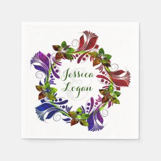 Zeitgenössische BlumenKranz-Hochzeits-Serviette Servietten