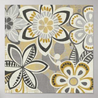 Zeitgenössische Blumenmuster Posterdruck