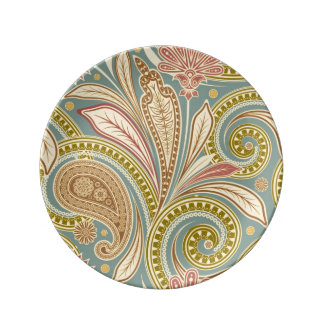 Contemporary colorful floral porcelain plate