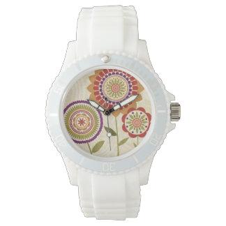 Zeitgenössische Fall-Blumen Armbanduhr