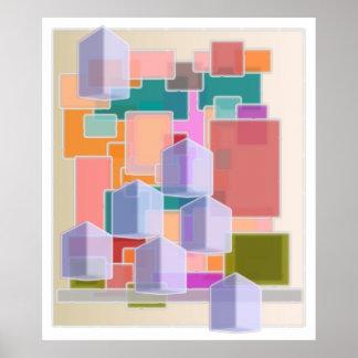 Zeitgenössische Kunst-abstraktes Würfel-Muster Poster