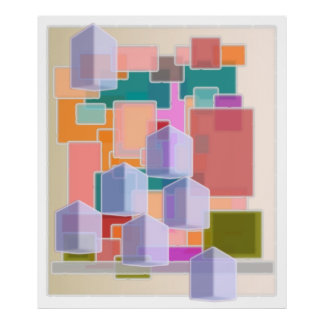 Zeitgenössische Kunst-abstraktes Würfel-Muster Plakatdrucke