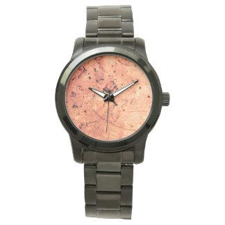 Zeitgenössische Kunst des orange abstrakten Grunge Armbanduhr