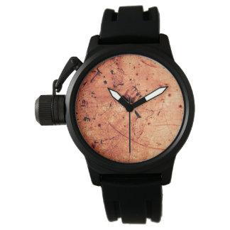Zeitgenössische Kunst des orange abstrakten Grunge Uhr