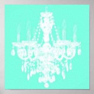 Zeitgenössische Leuchter-Silhouette-Kunst - Druck  Poster