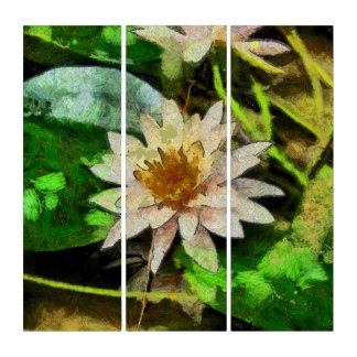 Zeitgenössische Wasser-Lilie Triptychon