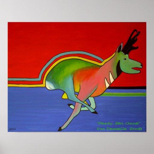 Zeitgenössischer Pronghorn Antilopen-Druck Plakatdrucke