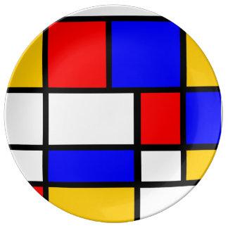Zeitgenössischer Sockel Mondrian-Stil Porzellanteller