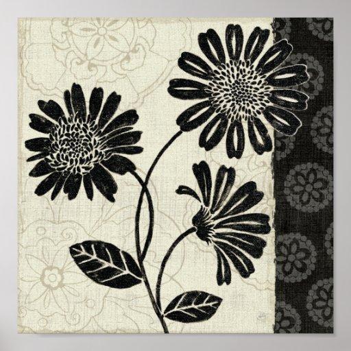 Zeitgenössisches Blumen in Schwarzweiss Posterdruck