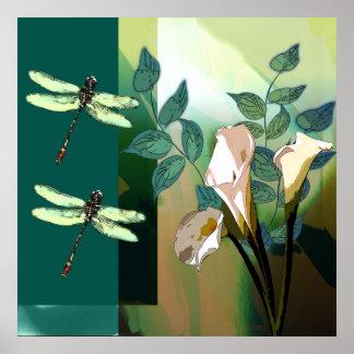 Zeitgenössisches BlumenDragonfleis und Lilien Poster