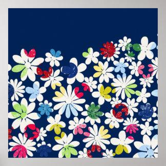 Zeitgenössisches Blumenmuster Plakat