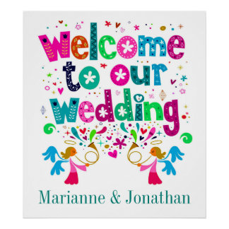 Zeitgenössisches Hochzeits-Plakat Poster