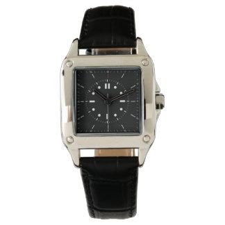 zeitgenössisches Quadrat unterstützt schwarze Uhr
