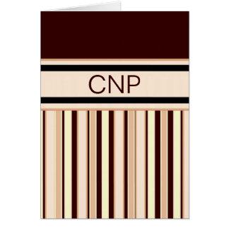 Zeitgenössisches Streifen-Brown-Monogramm Notecard Karte