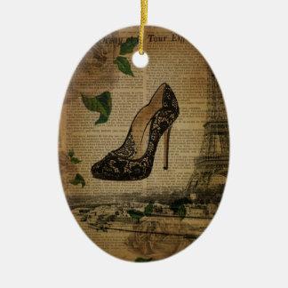 Zeitung Paris-Eiffelturmschwarz-Spitzeschuhe Keramik Ornament