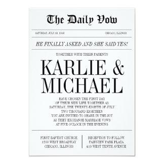 Zeitungs-Art-Hochzeits-Einladung Karte