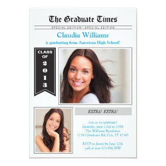 Zeitungs-Foto-Abschluss-Einladung 12,7 X 17,8 Cm Einladungskarte