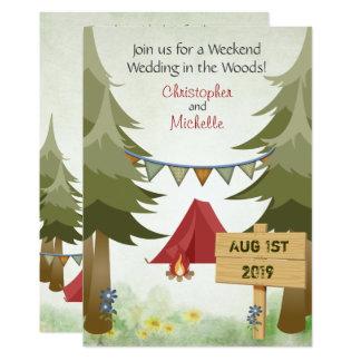 Zelte und Lagerfeuer-WaldCampings-Hochzeit laden 12,7 X 17,8 Cm Einladungskarte