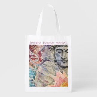 Zen atmet wiederverwendbare Tasche Buddhas Wiederverwendbare Einkaufstasche